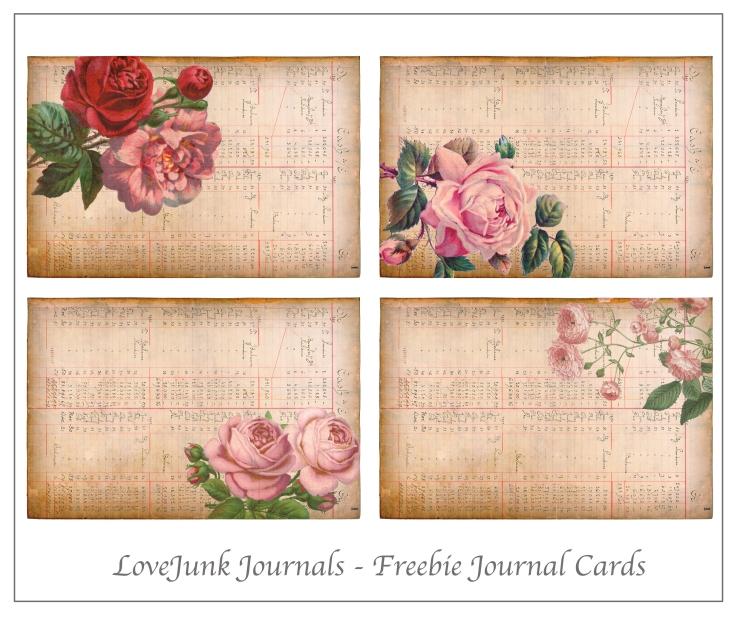 Rose Freebie Journal Cards
